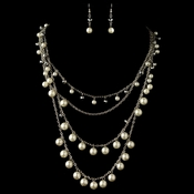 Rhodium Diamond White Pearl & Smoke Beaded Fashion Jewelry Set 82028