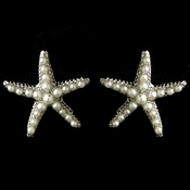 Rhodium Diamond White Pearl Stud Starfish Earrings
