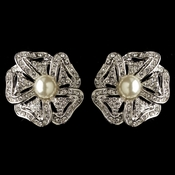 Rhodium Double Row Ivory Pearl CZ Crystal Rose Stud Earrings 76012