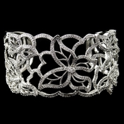 Rhodium Floral Butterfly CZ Bangle Bracelet