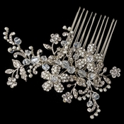 Rhodium Floral Vine Comb with Ivory Pearl & Rhinestone Accents