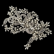 Rhodium Ivory Pearl & Clear Rhinestone Couture Vine Hair Comb 2993