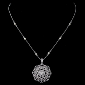 Rhodium Ivory Pearl & CZ Crystal Vintage Pendant Necklace 76014