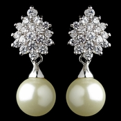 Rhodium Ivory Pearl & CZ Drop Leaf Earrings