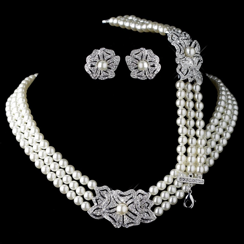 rhodium ivory pearl rhinestone necklace 76010 earrings
