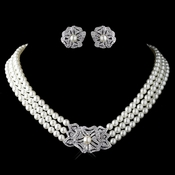 Rhodium Ivory Pearl & Rhinestone Necklace 76010 & Earrings 76012 Vintage Floral Jewelry Set