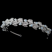 Rhodium Leaf Headband with Opal Accents 2256