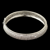 Rhodium Pave Double Sided CZ Crystal Bangle Bracelet 607
