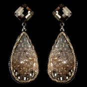 Rhodium Pink Peach Gold Smoke Crystal & Beaded Hand Made Drop Earrings 82040