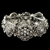 Rhodium Rhinestone Flower Stretch Bracelet