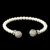 Rhodium Rhinestone Pave Accented White Pearl Bracelet 300***Discontinued***