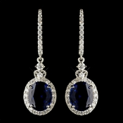 Rhodium Sapphire & Clear CZ Crystal Drop Earrings 4820