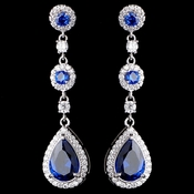 Rhodium Sapphire Teardrop CZ Dangle Earrings 9802