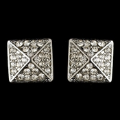 Rhodium Silver Clear Rhinestone Egyptian Inspired Square Earrings 9625