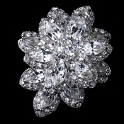 * Rhodium Silver Clear Vintage Bridal Brooch 1001
