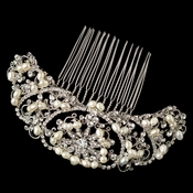 Rhodium Silver Rhinestone Lace Comb W/ Freshwater Pearl Accents Comb 59