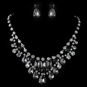 Rhodium Smoke, Black & Clear Pear & Radiant Cut Rhinestone Jewelry Set 82051