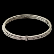 Rhodium Triple CZ Crystal Bangle Bracelet 82003