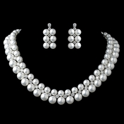 Rhodium White Pearl & CZ Jewelry Set