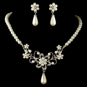 Rhodium White Pearl & Rhinestone Flower Jewelry Set 4216