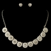 Rhodium White Pearl & Round Rhinestone Jewelry Set 269