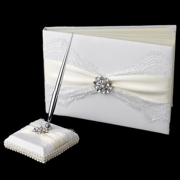Ribbon & Brooch Guest Book & Pen Set 848