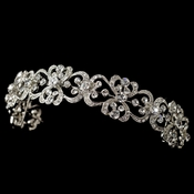 Ribbon Heart Headband 8287 w/ Rhodium Clear Rhinestones
