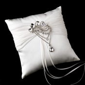 Ring Pillow 11 with Antique Silver Clear Pear Crystal Brooch 45