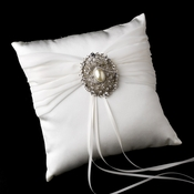 Ring Pillow 11 with Antique Silver Clear Rhinestone & Oval Pearl Brooch 28