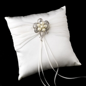 Ring Pillow 11 with Antique Silver Clear Rhinestone & Pearl Ribbon Brooch 26