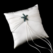 Ring Pillow 11 with Silver Green AB/Silver Clear Beach Starfish Brooch 90