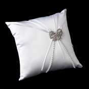 Ring Pillow 16 with Antique Silver Clear AB Crystal Bow Brooch 51