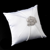 Ring Pillow 16 with Silver Clear Crystal Flower Brooch 62