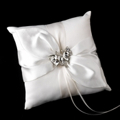 Ring Pillow 17 with Silver Clear Butterfly Brooch 111