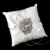 Ring Pillow 17 with Silver Clear Crystal Leaf Brooch 129