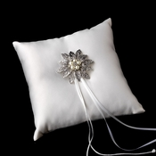 Ring Pillow 9 with Antique Silver Vintage Floral Crystal & Pearl Brooch 38
