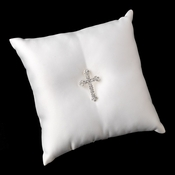 Ring Pillow 9 with Silver Clear Faith Cross Brooch 30020