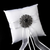Ring Pillow 90 with Antique Silver Black Swirl Rhinestone Brooch 79