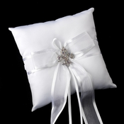 Ring Pillow 90 with Silver Clear AB Fleur De Lis Crystal Brooch 80