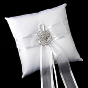 Ring Pillow 90 with Silver Clear Crystal Flower Brooch 6025