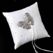 Ring Pillow 92 with Silver Clear AB Marquise Crystal Butterfly Brooch 7444