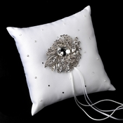 Ring Pillow 92 with Silver Clear Crystal Leaf Brooch 129