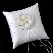 Ring Pillow 92 with Silver Ivory Beaded Flower Pearl Brooch 41