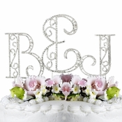 Roman Swarovski Crystal Initials and Ampersand Wedding  Cake Top Set