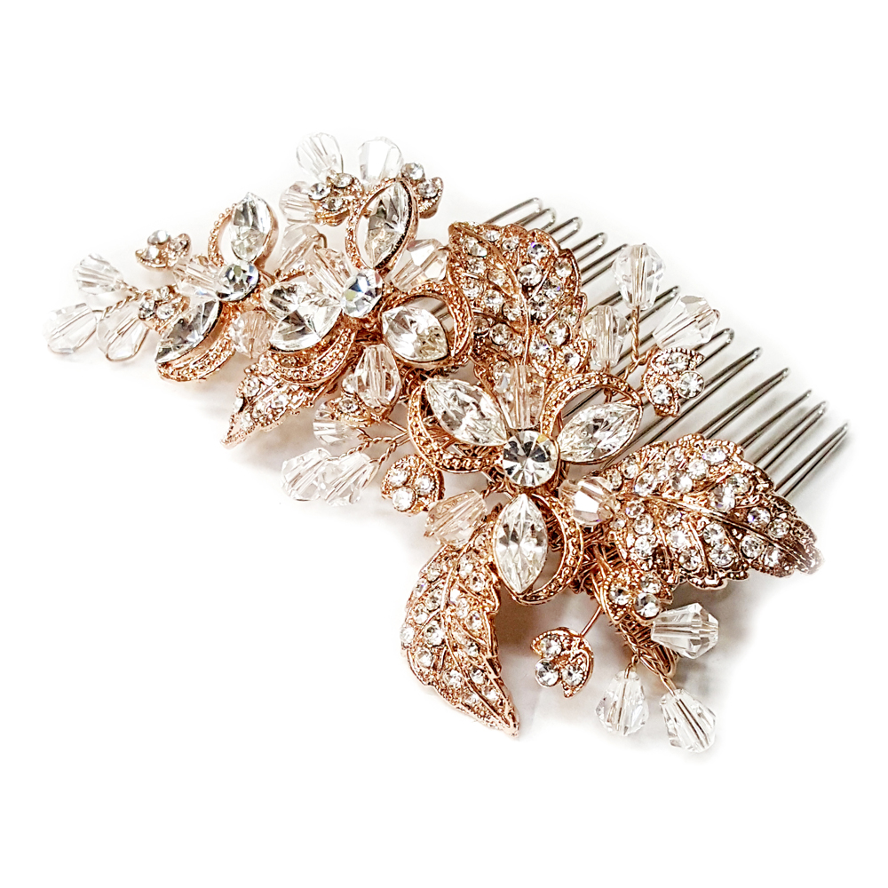 Rose Gold Clear Rhinestone Amp Crystal Flower Hair Comb 8111