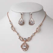 Rose Gold Clear Rhinestone Drop Jewelry Set 8265