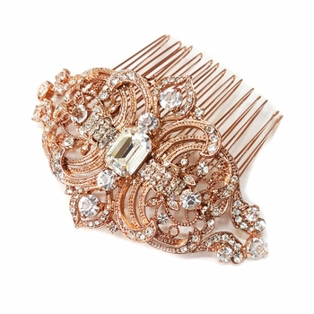 Rose Gold Clear Rhinestone Hair Comb 8356