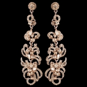 Rose Gold Peach Rhinestone Dangle Earrings 9890