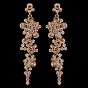 Rose Gold Peach Rhinestone Round Dangle Earrings 9889