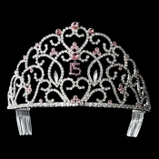 Royal Sweet 15 Quincea�era Silver Headpiece Covered in Clear & Pink Rhinestones 251